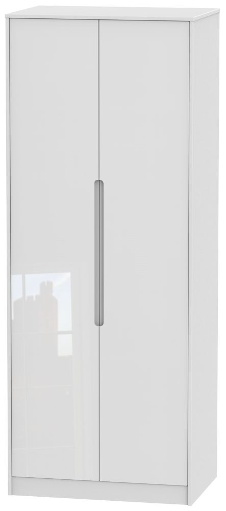 Monaco High Gloss White 2 Door Tall Wardrobe