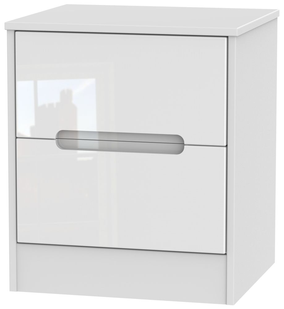 Monaco High Gloss White 2 Drawer Bedside Cabinet