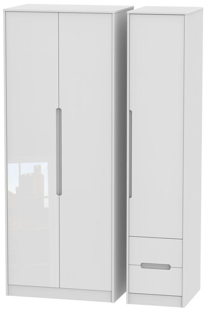 Monaco High Gloss White 3 Door 2 Right Drawer Tall Wardrobe