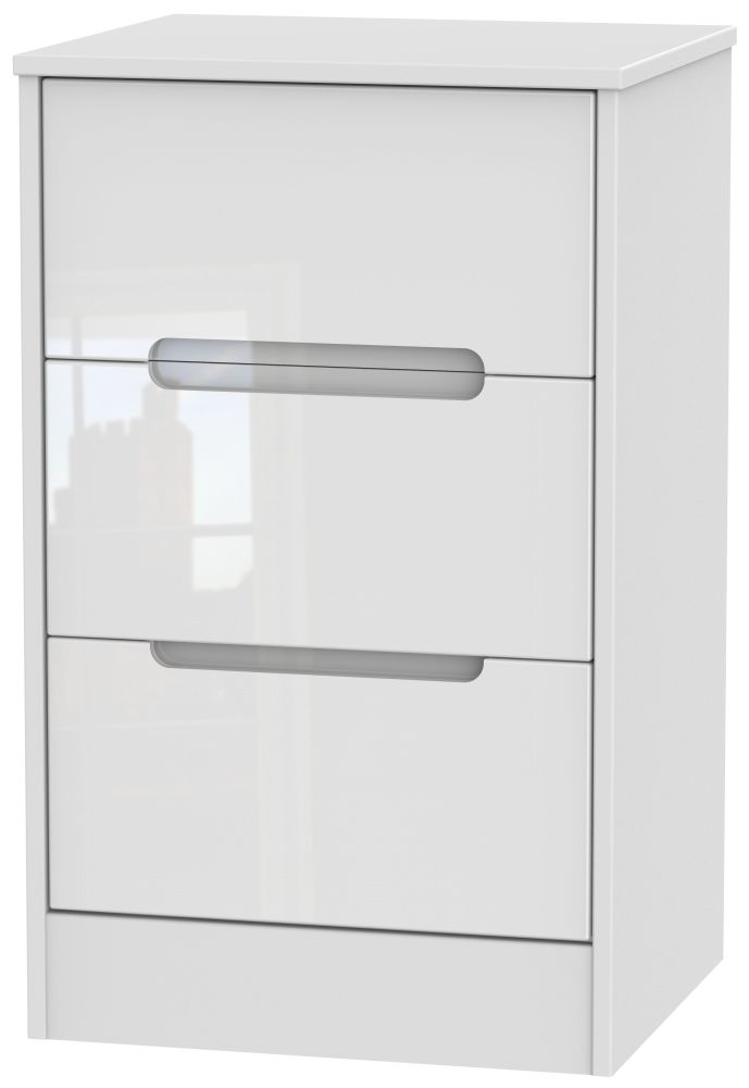Monaco High Gloss White 3 Drawer Bedside Cabinet
