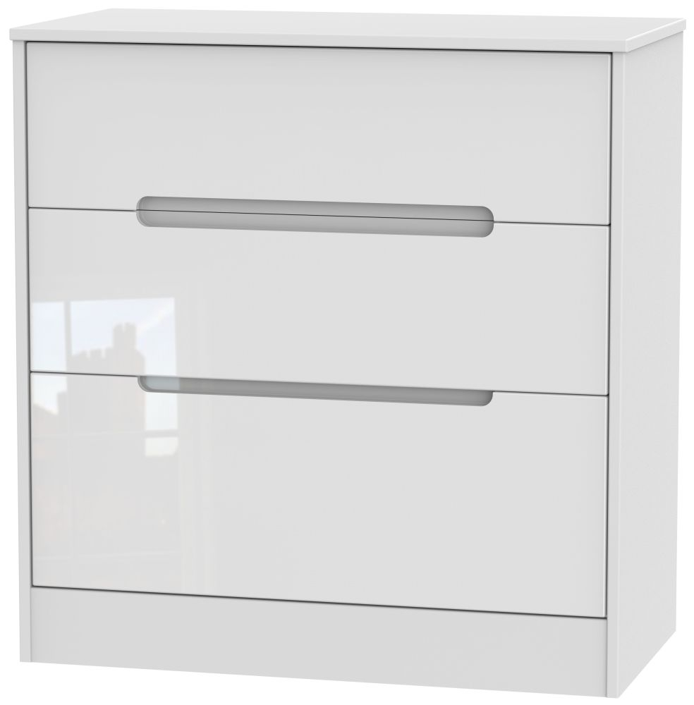 Monaco High Gloss White 3 Drawer Deep Chest