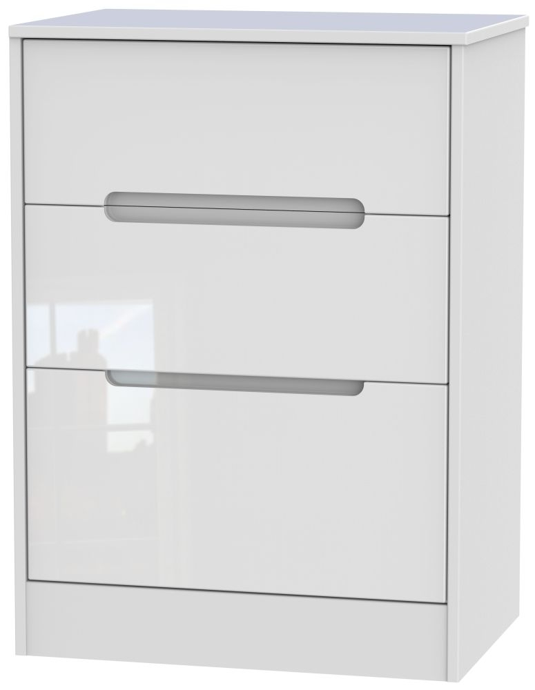 Monaco High Gloss White 3 Drawer Deep Midi Chest