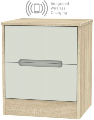 Monaco 2 Drawer Bedside Cabinet with Integrated Wireless Charging - Kaschmir Matt and Bardolino