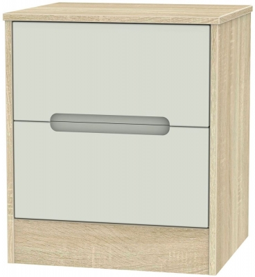 Monaco 2 Drawer Bedside Cabinet - Kaschmir Matt and Bardolino