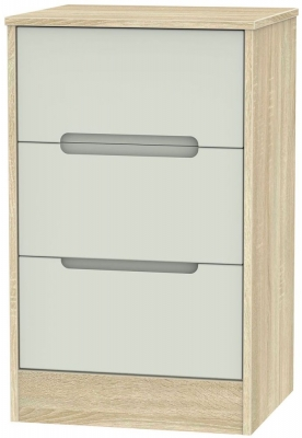 Monaco 3 Drawer Bedside Cabinet - Kaschmir Matt and Bardolino