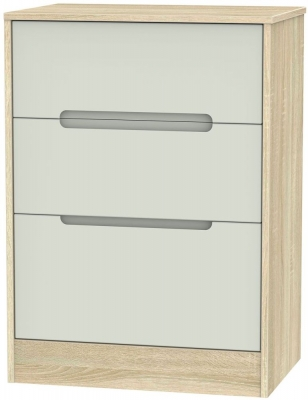Monaco Kaschmir Matt and Bardolino Chest of Drawer - 3 Drawer Deep Midi