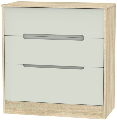 Monaco 3 Drawer Deep Chest - Kaschmir Matt and Bardolino