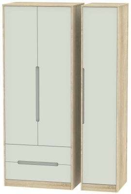 Monaco 3 Door 2 Left Drawer Tall Wardrobe - Kaschmir Matt and Bardolino