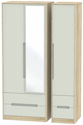 Monaco 3 Door 4 Drawer Tall Combi Wardrobe - Kaschmir Matt and Bardolino