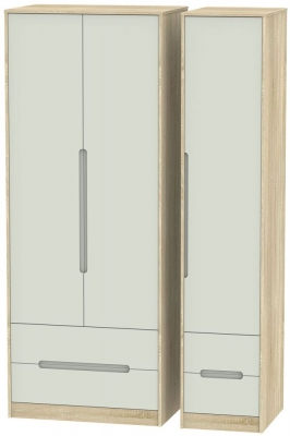 Monaco 3 Door 4 Drawer Tall Wardrobe - Kaschmir Matt and Bardolino