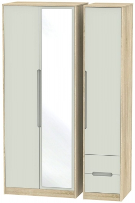 Monaco 3 Door 2 Right Drawer Tall Combi Wardrobe - Kaschmir Matt and Bardolino