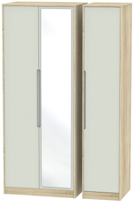 Monaco 3 Door Tall Mirror Wardrobe - Kaschmir Matt and Bardolino