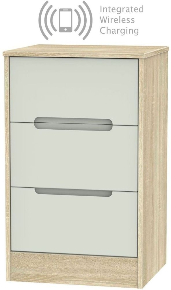 Monaco 3 Drawer Bedside Cabinet with Integrated Wireless Charging - Kaschmir Matt and Bardolino