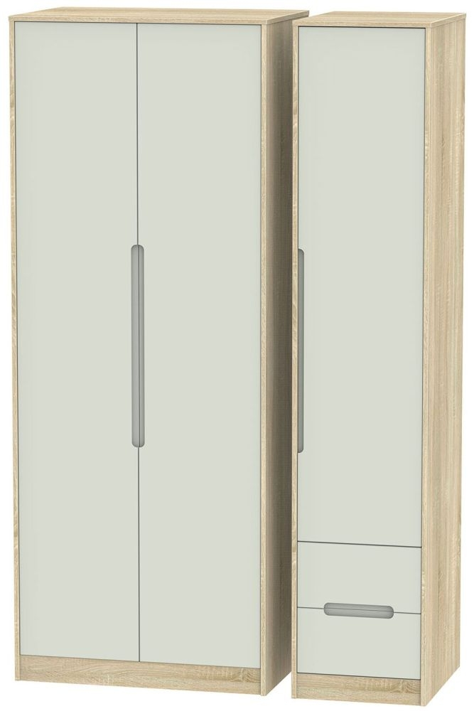 Monaco 3 Door 2 Right Drawer Tall Wardrobe - Kaschmir Matt and Bardolino