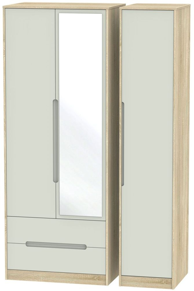 Monaco Kaschmir Matt and Bardolino Triple Wardrobe - Tall with 2 Drawer and Mirror