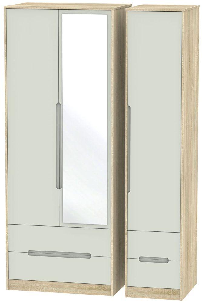 Monaco Kaschmir Matt and Bardolino Triple Wardrobe - Tall with Drawer and Mirror