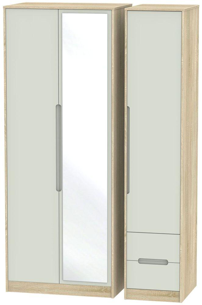 Monaco Kaschmir Matt and Bardolino 3 Door 2 Right Drawer Tall Mirror Triple Wardrobe