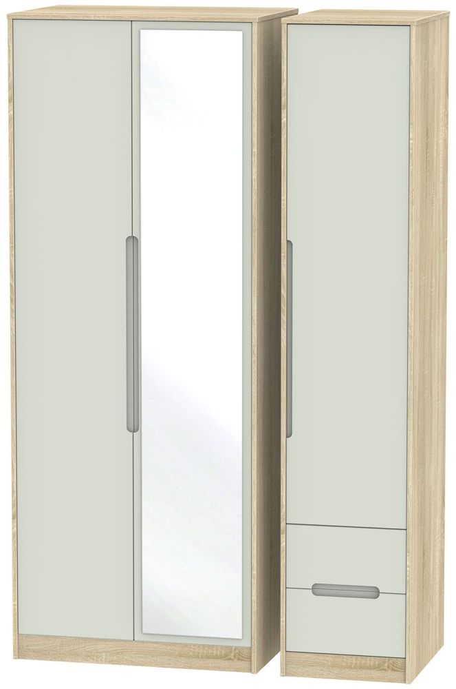 Monaco Kaschmir Matt and Bardolino Triple Wardrobe - Tall with Mirror and 2 Drawer