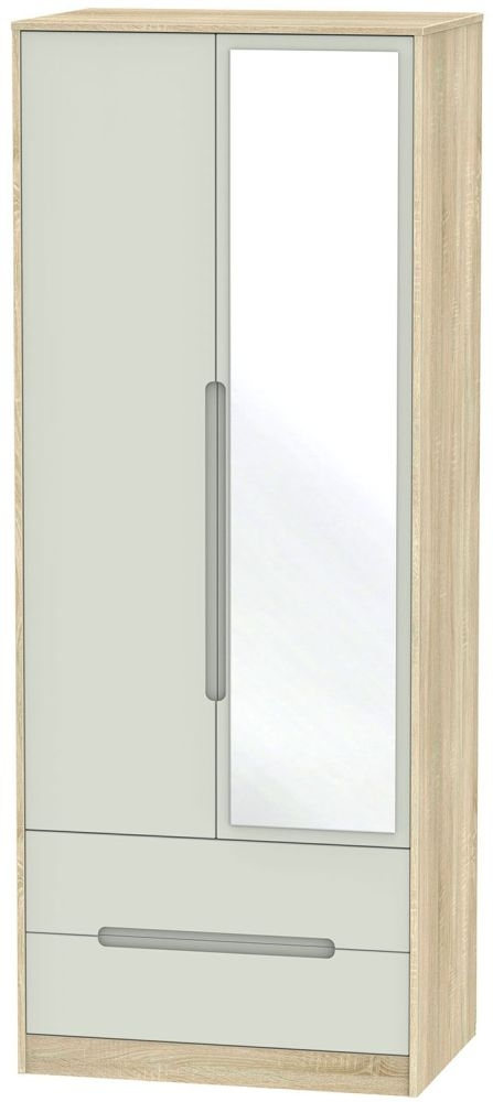 Monaco 2 Door Tall Combi Double Wardrobe - Kaschmir Matt and Bardolino