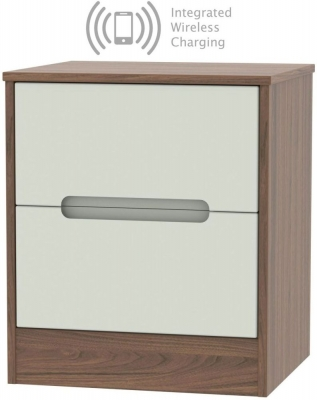 Monaco 2 Drawer Bedside Cabinet with Integrated Wireless Charging - Kaschmir Matt and Carini Walnut
