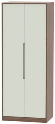 Monaco Kaschmir Matt and Carini Walnut 2 Door Tall Plain Double Wardrobe