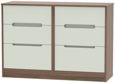 Monaco 6 Drawer Midi Chest - Kaschmir Matt and Carini Walnut