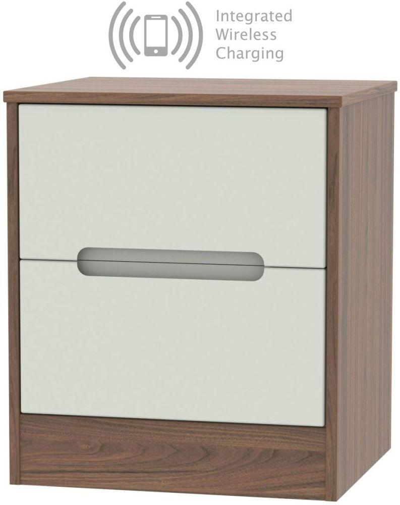 Monaco 2 Drawer Bedside Cabinet with Integrated Wireless Charging - Kaschmir Matt and Carini Walnut