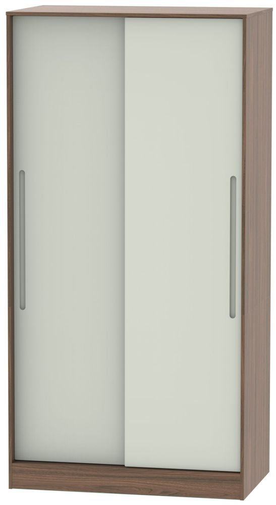 Monaco 2 Door Sliding Wardrobe - Kaschmir Matt and Carini Walnut
