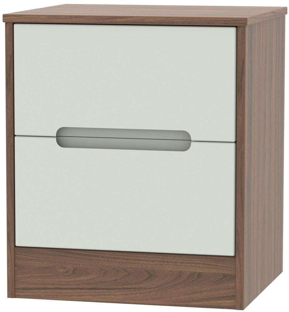 Monaco Kaschmir Matt and Carini Walnut 2 Drawer Locker Bedside Cabinet