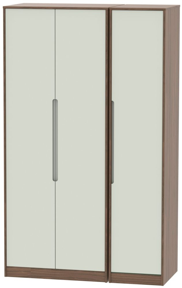 Monaco Kaschmir Matt and Carini Walnut 3 Door Tall Plain Triple Wardrobe