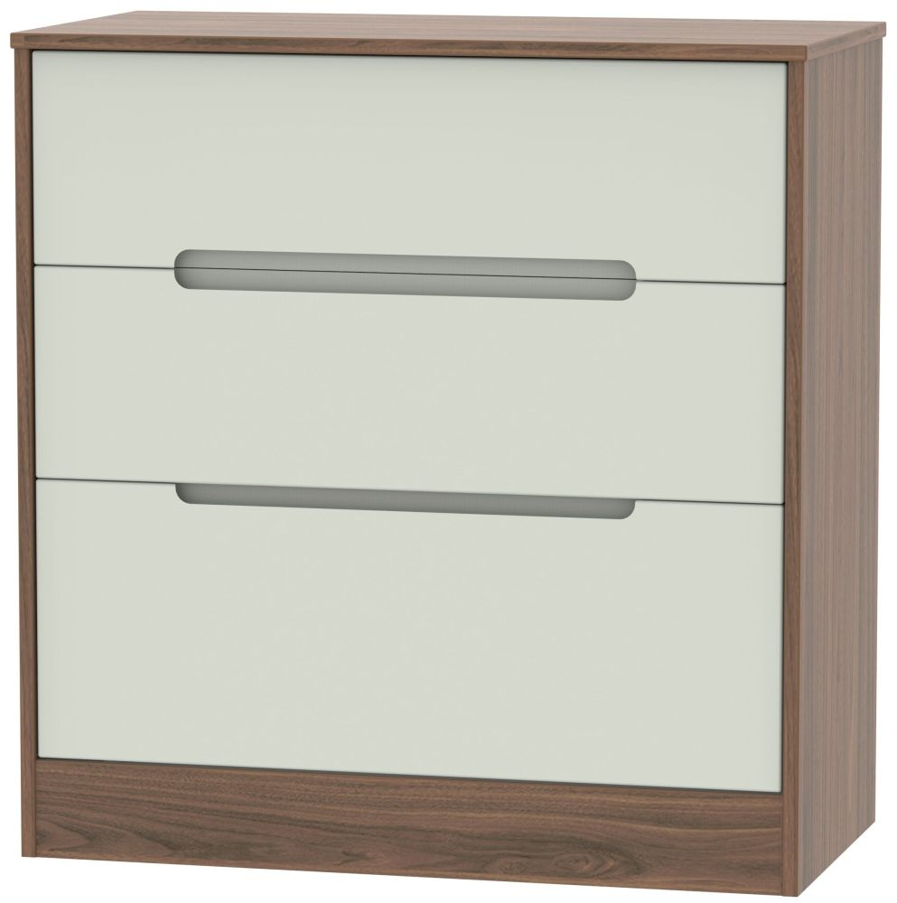 Monaco 3 Drawer Deep Chest - Kaschmir Matt and Carini Walnut