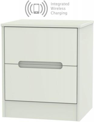 Monaco Kaschmir Matt 2 Drawer Bedside Cabinet with Integrated Wireless Charging