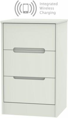 Monaco Kaschmir Matt 3 Drawer Bedside Cabinet with Integrated Wireless Charging