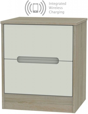 Monaco 2 Drawer Bedside Cabinet with Integrated Wireless Charging - Kaschmir and Darkolino