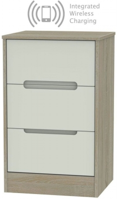 Monaco 3 Drawer Bedside Cabinet with Integrated Wireless Charging - Kaschmir and Darkolino