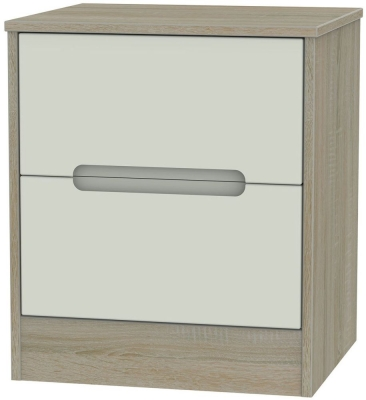 Monaco 2 Drawer Bedside Cabinet - Kaschmir and Darkolino