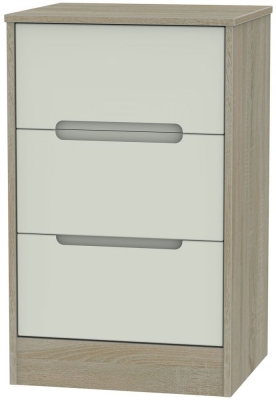 Monaco Kaschmir and Darkolino Bedside Cabinet - 3 Drawer Locker