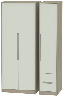 Monaco 3 Door 2 Right Drawer Tall Wardrobe - Kaschmir and Darkolino