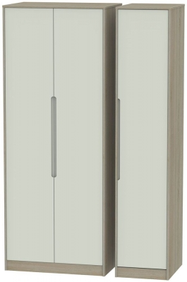 Monaco 3 Door Tall Wardrobe - Kaschmir and Darkolino