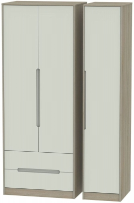 Monaco 3 Door 2 Left Drawer Tall Wardrobe - Kaschmir and Darkolino