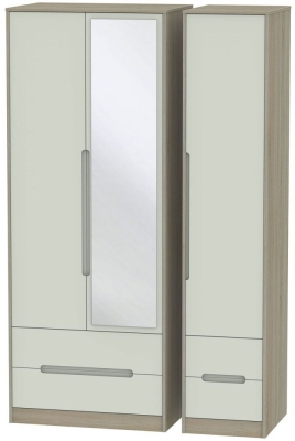 Monaco 3 Door 4 Drawer Tall Combi Wardrobe - Kaschmir and Darkolino