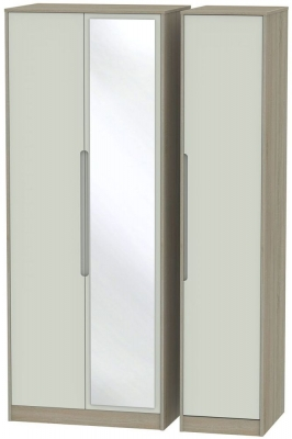Monaco 3 Door Tall Mirror Wardrobe - Kaschmir and Darkolino