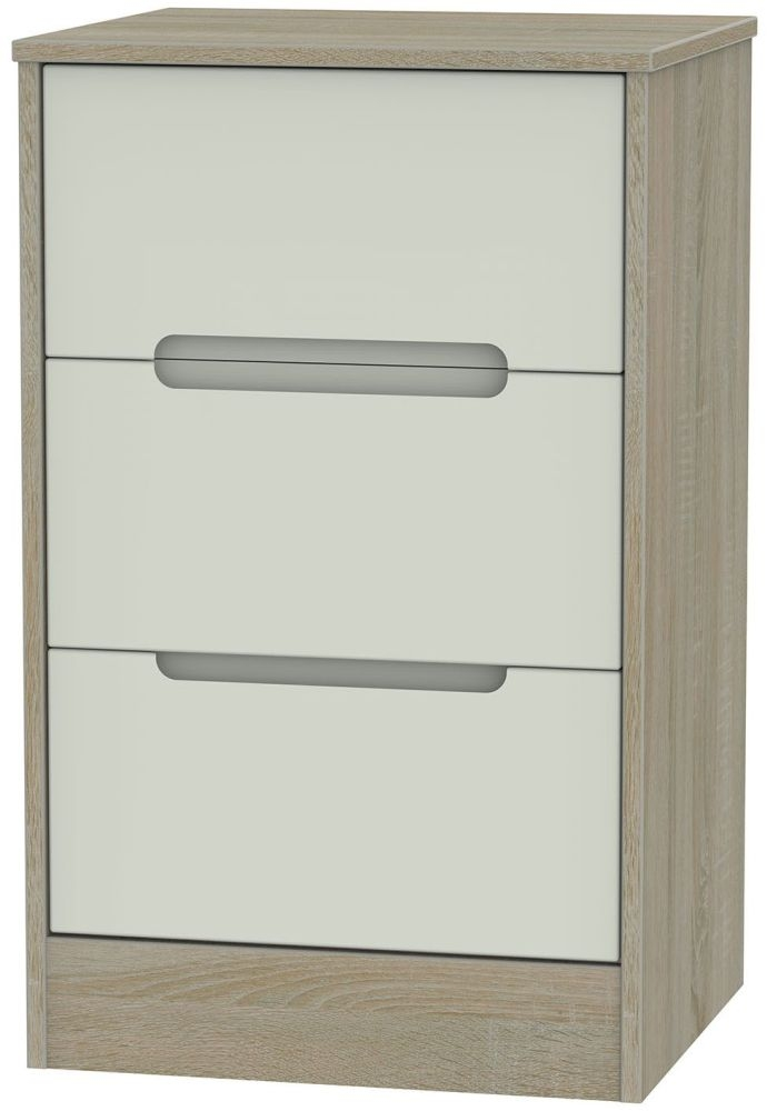 Monaco 3 Drawer Bedside Cabinet - Kaschmir and Darkolino
