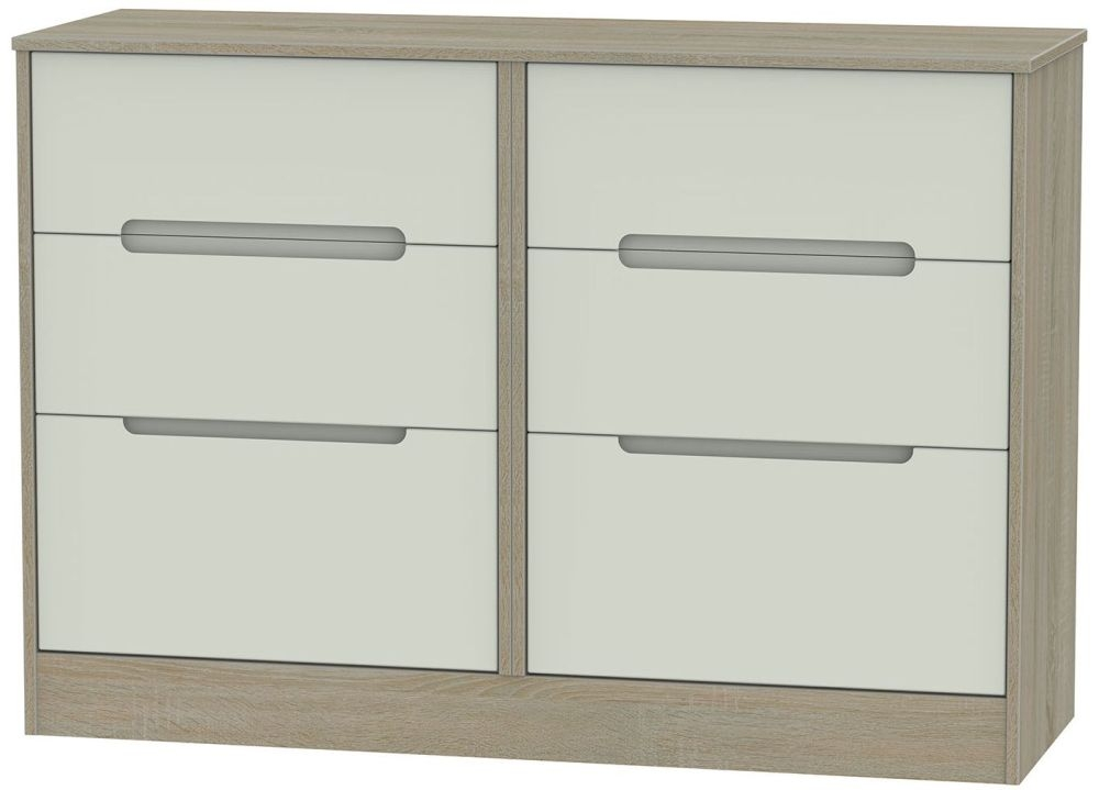 Monaco Kaschmir and Darkolino 6 Drawer Midi Chest