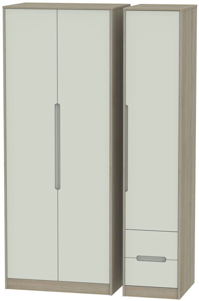 Monaco Kaschmir and Darkolino 3 Door 2 Drawer Tall Plain Triple Wardrobe
