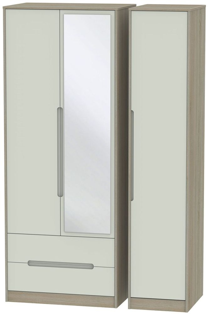 Monaco Kaschmir and Darkolino 3 Door 2 Left Drawer Tall Mirror Triple Wardrobe