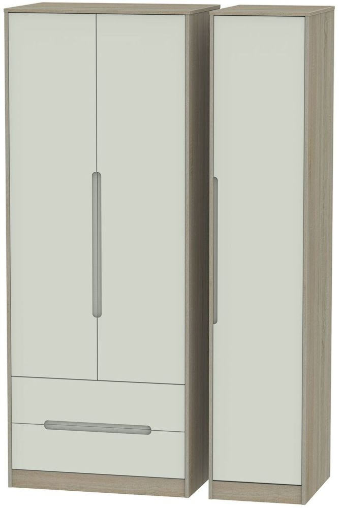 Monaco Kaschmir and Darkolino Triple Wardrobe - Tall with 2 Drawer