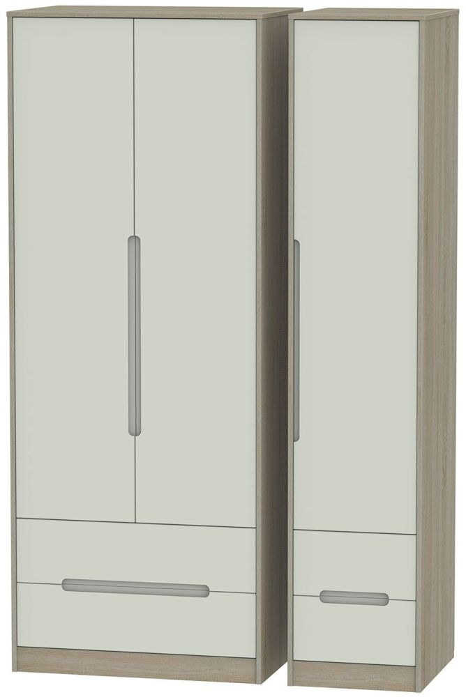 Monaco Kaschmir and Darkolino Triple Wardrobe - Tall with Drawer