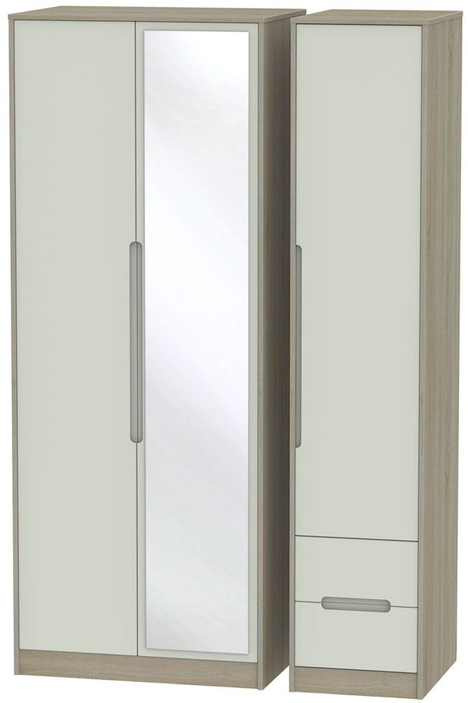 Monaco Kaschmir and Darkolino 3 Door 2 Right Drawer Tall Mirror Triple Wardrobe