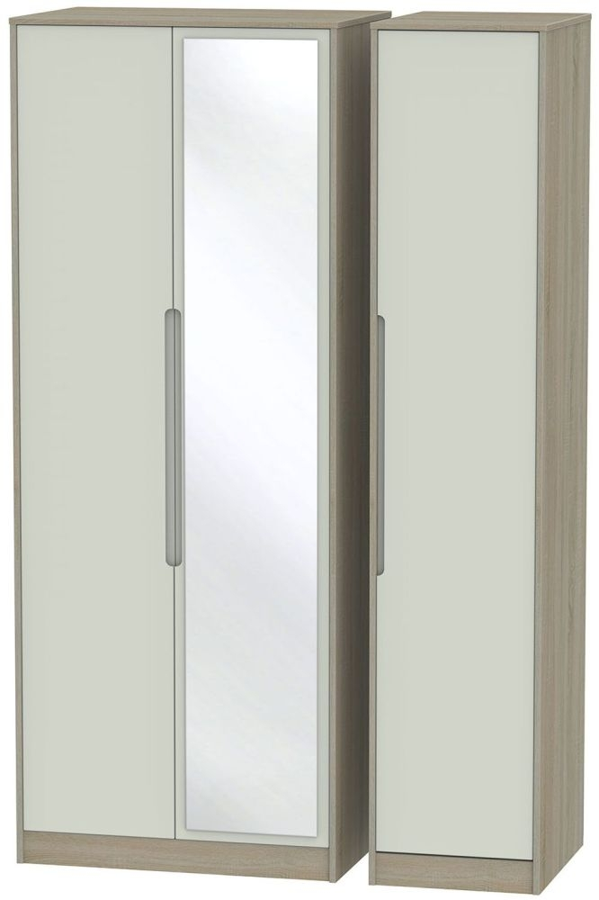 Monaco Kaschmir and Darkolino Triple Wardrobe - Tall with Mirror